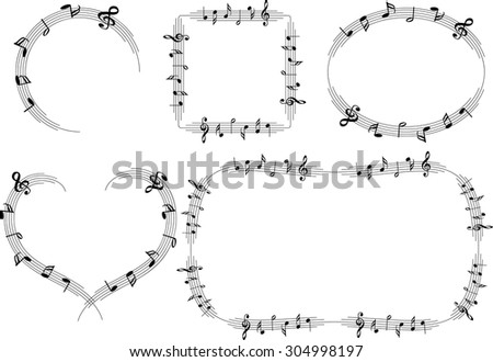 vector line music note border - Music Note Picture Frame