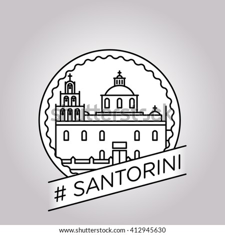 vector line santorini badge
