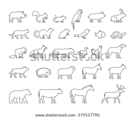 Vector line set of domestic, farm and wild animals. Linear silhouettes animals isolated on a white background. Modern outline icons cat, dog, cow, pig, fox, rabbit, horse, sheep and chicken. - stock vector