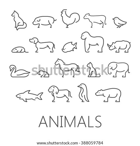 Vector line set of domestic, farm and wild animals. Linear silhouettes animals isolated on a white background. - stock vector