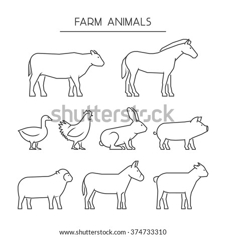 Vector line set of farm animals isolated on a white background. Linear icons cow, pig, rabbit, donkey, horse, goat, sheep, goose and chicken. - stock vector