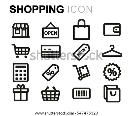 Vector line shopping icons set on white background