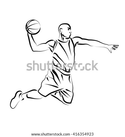 Vector Line Sketch Basketball Player Stock Vector 416354923 - Shutterstock