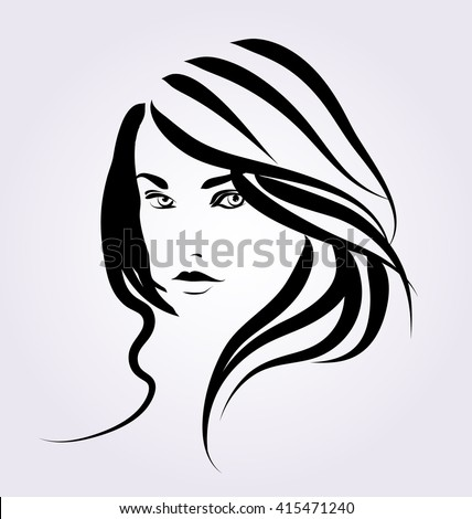Vector Line sketch of a woman's face