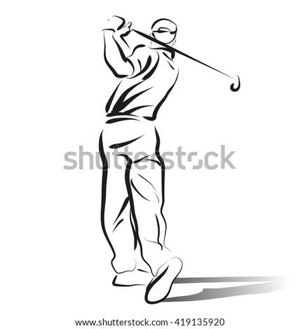 Vector Line sketch of golfer