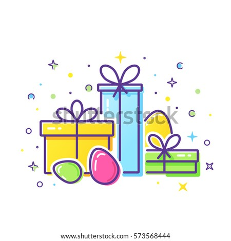 Vector line style logo gift boxes stock vector 573568444 vector line style logo with gift boxes and easter eggs easy to use business template negle Choice Image