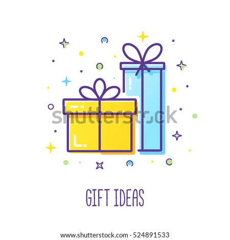 vector line style logo gift boxes stock vector royalty free