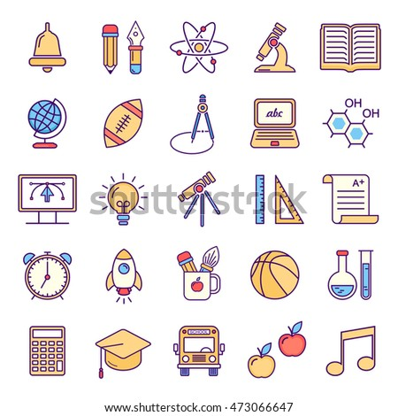 Vector line style school and educations colored icons set. Linear symbols.