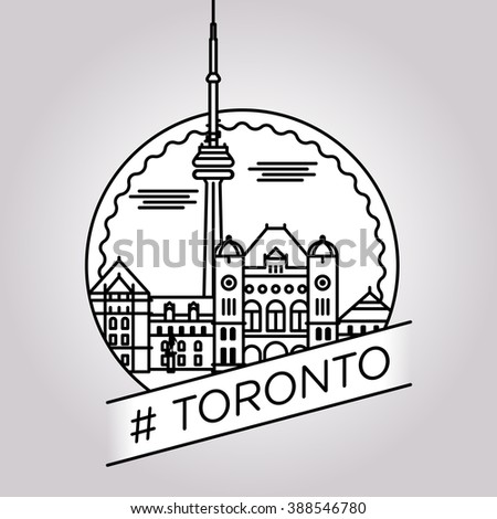 vector line toronto badge - stock vector