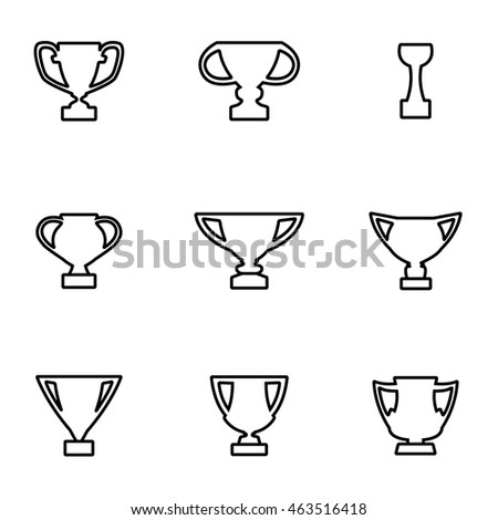 Vector line trophy icon set on white background