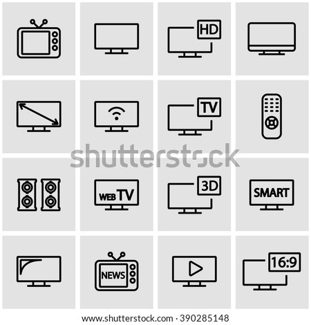 Vector line tv icon set. TV Icon Object, TV Icon Picture, TV Icon Image - stock vector - stock vector
