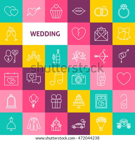 Vector Line Wedding Icons. Thin Outline Love Heart Symbols over Colorful Squares.