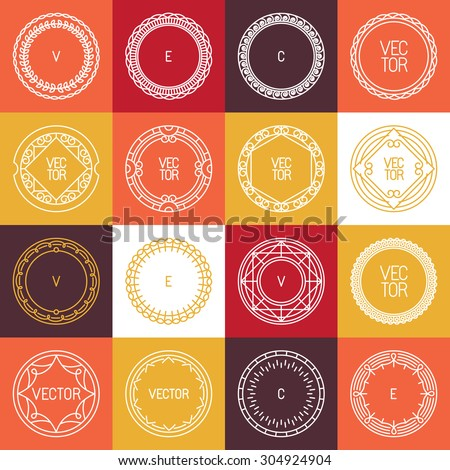 Vector linear badges and frames for logos and design templates in trendy mono line style - abstract circle borders  - stock vector