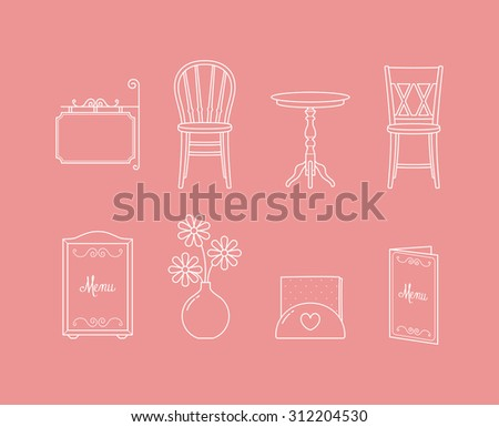 Vector linear cafeteria furniture and decorations icon set - stock vector