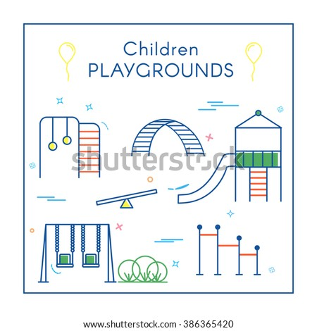 Vector Linear Children's Playground Design Elements Set in Line Style - swing, slide, rocker, rope ladder. Thin line art icons. Playground design elements for map.