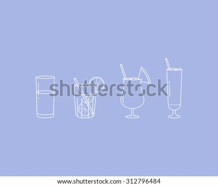 Vector linear cocktail icon set