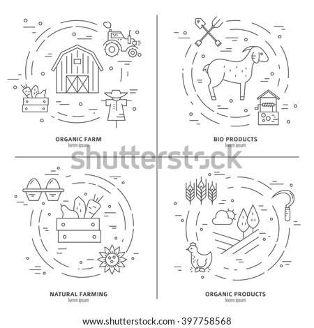 Vector linear collection of farming illustrations with different agricultural symbols. Great template for bio farming advertising or organic products banner. - stock vector