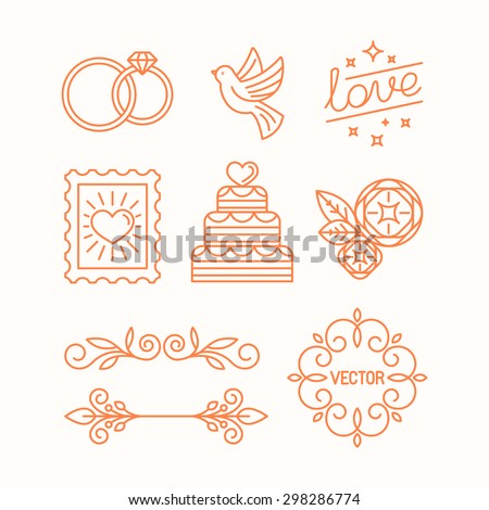 Vector linear design elements, icons and frame for wedding invitations and stationery - decoration set in trendy linear style - stock vector