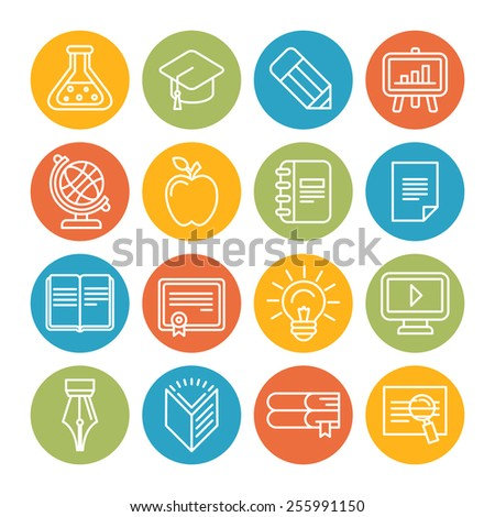 Vector linear educational icons and signs - symbols in trendy outline style on bright circles - stock vector