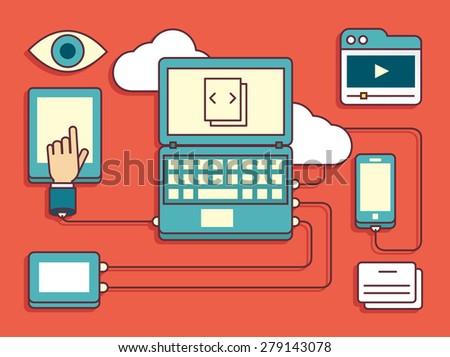 Vector linear flat concept of storage and processing data - vector illustration - stock vector