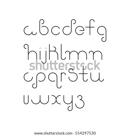 Vector Linear Font Simple Alphabet Mono Stock 554297530
