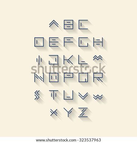 Vector Linear Font Simple Alphabet Mono Stock 323537963