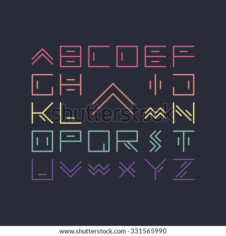 Vector linear font - simple alphabet in mono line style - typography design elements.Thin line iconographic flat letters. Hipster modern font. - stock vector