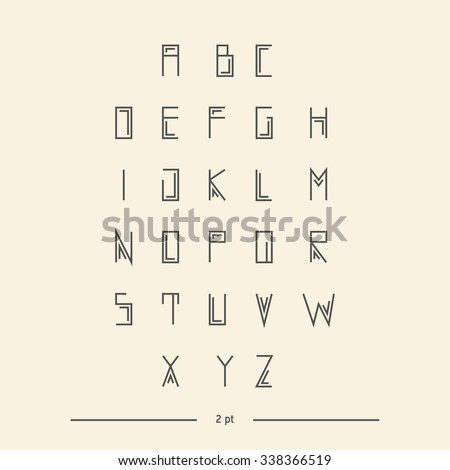 Vector Linear Font Simple Alphabet Mono Stock 338366519