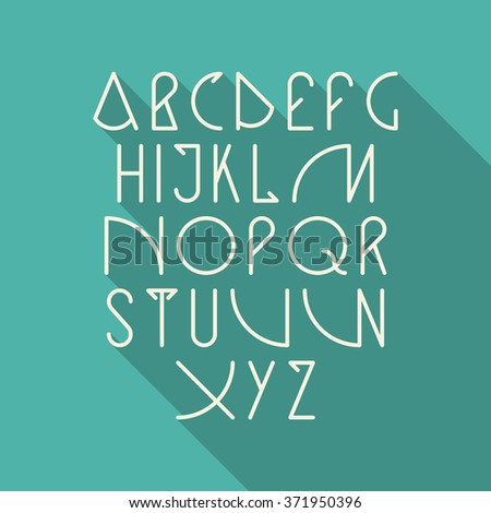 Vector Linear Font Simple Alphabet Mono Stock 371950396