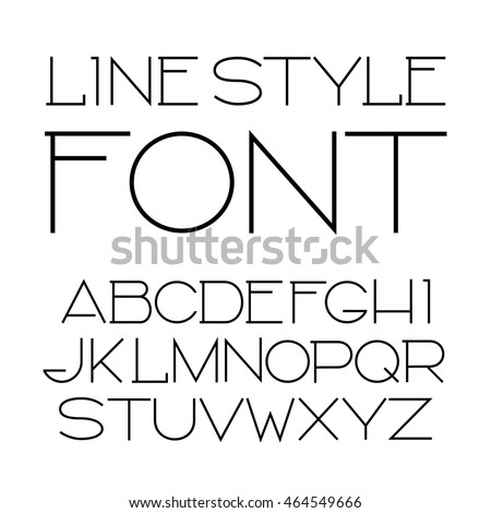 Vector Linear Font Simple Minimalistic Alphabet Stock