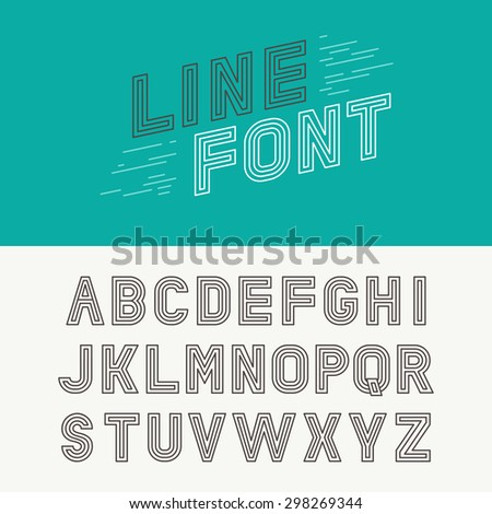 Vector linear font - simple and minimalistic alphabet in mono line style - typography design elements - stock vector