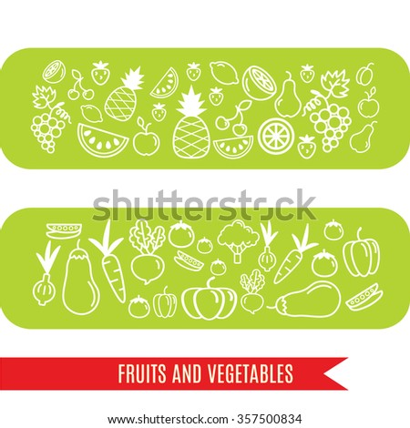 Vector linear fruit and vegetables banner. Pineapple, apple, orange, lemon, grapes. Aubergine, onion, carrot, pumpkin, tomato. Food, cooking, recipes. Vector illustration.