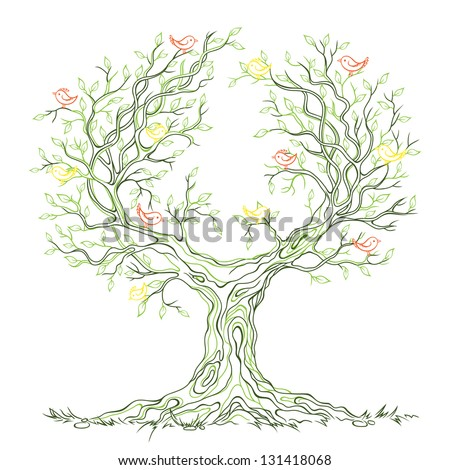 Vector linear graphic green old big branchy tree with leaves and birds