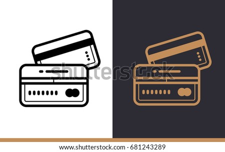 vector linear icons credit card finance stock vector 681243289