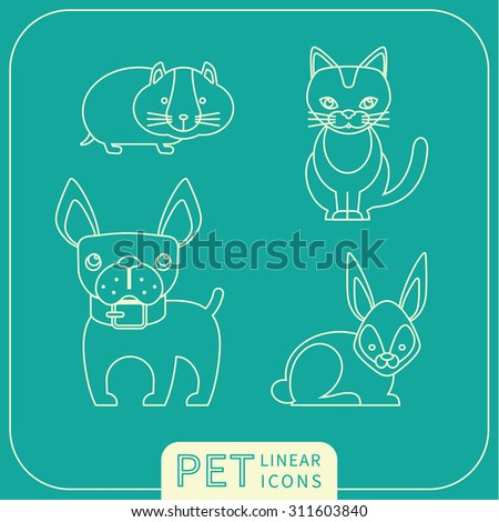 Vector linear icons of pets. Trendy design elements. - stock vector