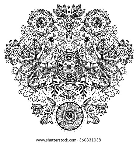 vector linear illustration of abstract hand drawn plants and birds. Can be used as a coloring book template - stock vector