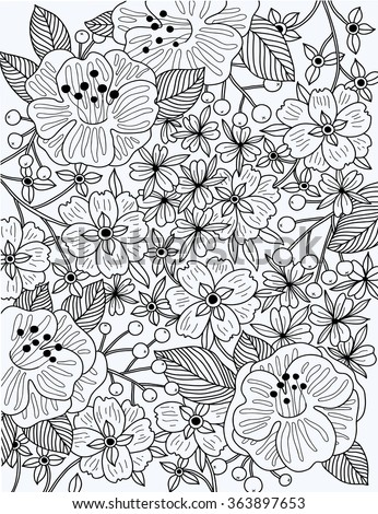 vector linear  illustration of blooming flowers and plants. Can be used as a coloring book template
