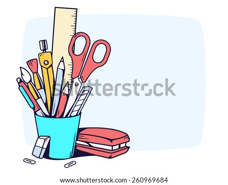 Vector linear illustration of blue holder with stationery set in frame on gray background. Color hand draw line art design for web, site, advertising, banner, poster, board and print. - stock vector