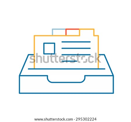Vector linear illustration of color card file on white background. Hand draw line art design for web, site, advertising, banner, poster, board and print.   - stock vector