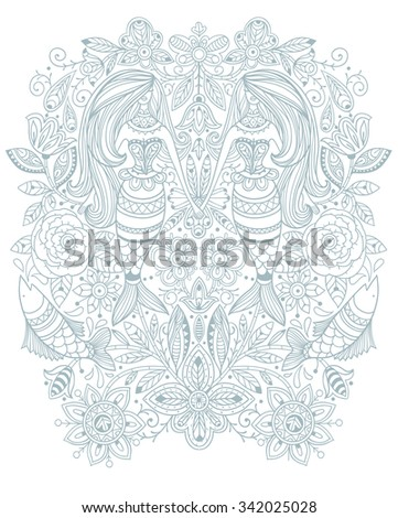 vector linear illustration of mermaids, fishes and folk floral elements. coloring book template.