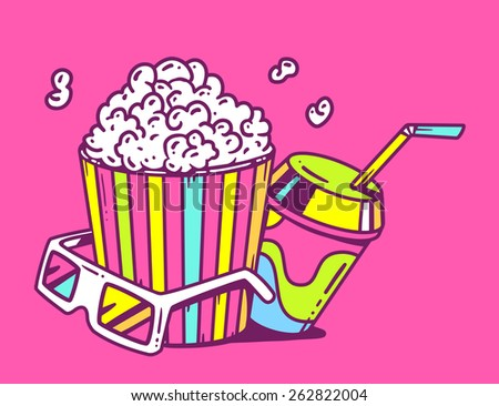 Vector linear illustration of pop corn with juice and anaglyph glasses for 3d on pink background. Glamorous color hand draw line art design for web, site, advertising, banner, poster, board and print. - stock vector