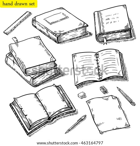 Vector linear illustration of the books set. Hand drawn sketch of the notebook, pen, pencil, eraser etc. Opened, closed books, isolated on white background.