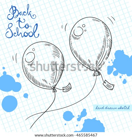 vector linear illustration of the flying balloons with a wish note on the textured paper sheet