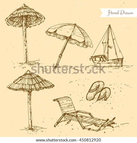 Vector linear illustration of the summer beach set on the textured paper background. Hand drawn sketch of the boat, flip flop, recliner, lounge, sun umbrella, ship, sandals.