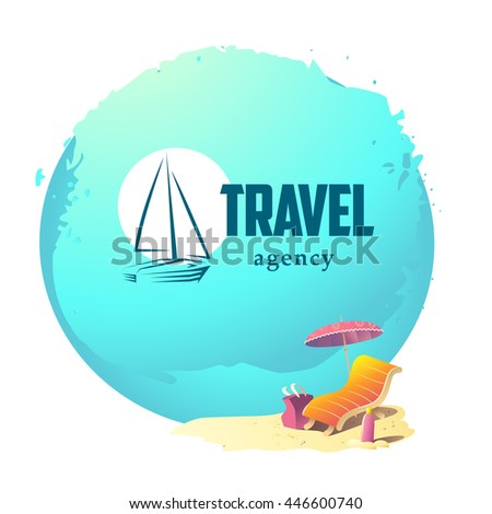 Vector linear logo for travel agency isolated on summer sea holiday green background with water, sunbed, umbrella, bag and sun cream stand on sand beach. Yacht flat icon. Colorful summer backdrop. - stock vector