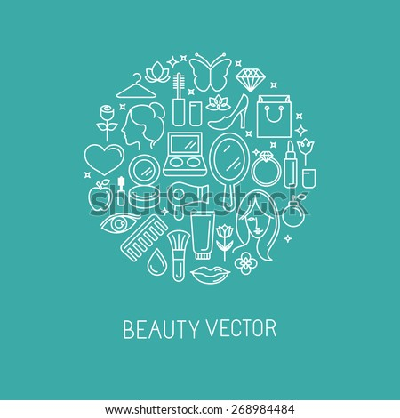 Vector linear logo with icons - beauty and cosmetics signs and symbols - design concepts for hairdressers and wellness centers - stock vector