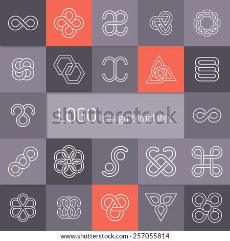 Vector linear logotypes. Infinity symbols, intertwining circles, flowers from geometric petals, triangular templates, elegant abstract symbols. Modern minimalist elements for branding and logo design - stock vector