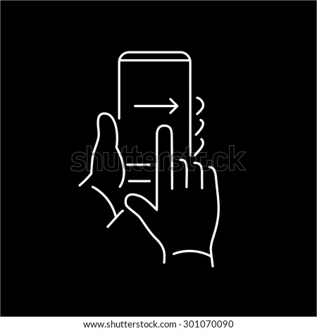 Vector linear phone and technology icons with hand gesture swipe with one finger from left to right side on smartphone touchscreen | flat design thin line modern white illustration and infographic - stock vector
