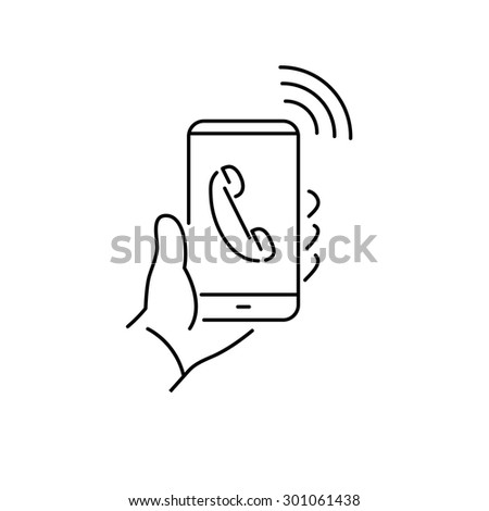 Vector linear phone and technology icons with hand phone call gesture holding phone in one hand | flat design thin line modern black illustration and infographic on white background - stock vector