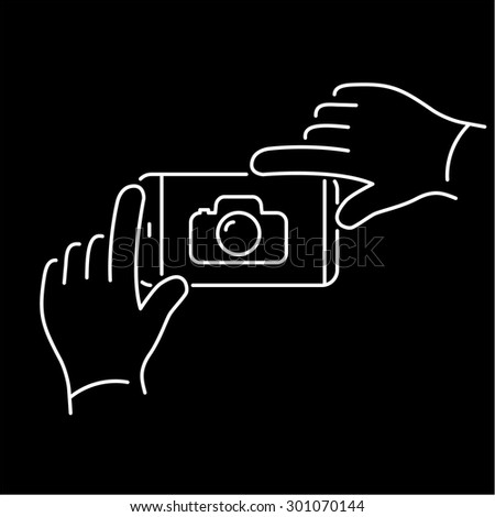 Vector linear phone and technology icons with hands gesture taking photo with smartphone | flat design thin line modern white illustration and infographic on black background
